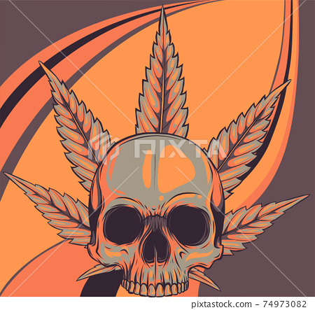 skull with leaves marijuana head illustration design 74973082