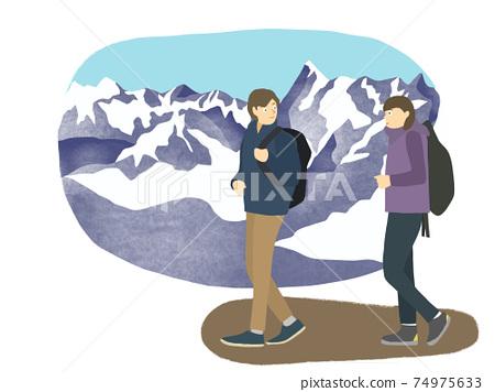 등산하는 남녀 (겨울 풍경) 74975633