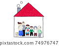 Cute hand-painted three-generation house, three-generation family and pets drawn by toddlers and elementary school students 74976747