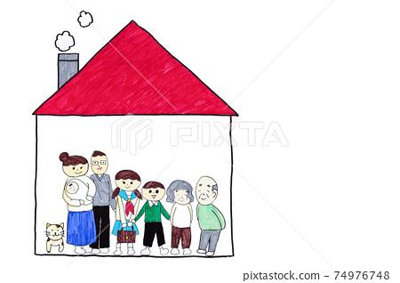 可愛的手繪兩戶家庭房屋,由學步兒童和小學生,一個三代家庭和一個寵物複製空間繪製 74976748