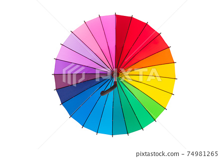 multicolored umbrella isolated on white background 74981265