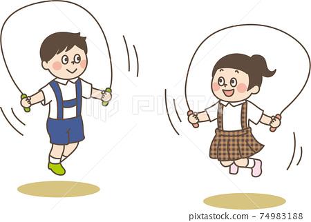 兒童跳繩的可愛插圖 74983188