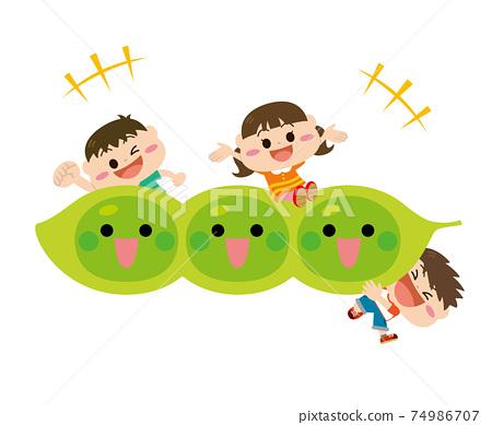 蔬菜/毛豆和兒童 74986707
