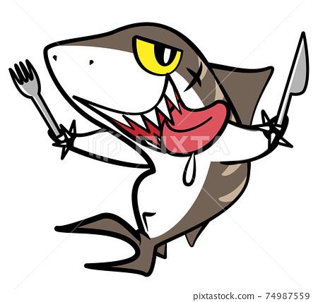 鯊魚鯊魚虎鯊危險生物插圖素材 74987559