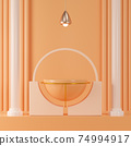 3d render empty podium on orange background between two Roman columns. Abstract minimal scene for product mock up template. 74994917