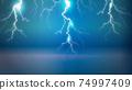 閃耀在藍色背景上的閃電的插圖 74997409