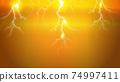 閃電照耀在黃色背景上的插圖 74997411