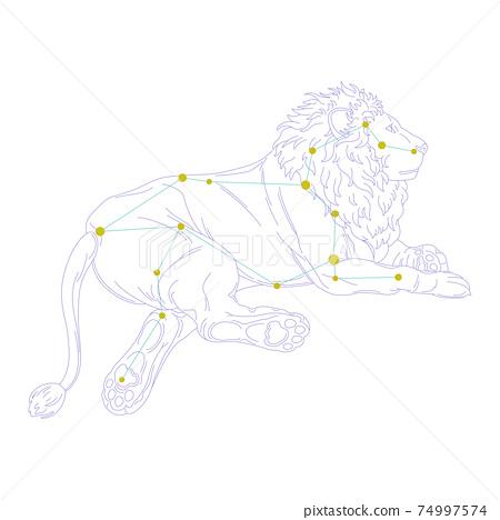 88星座系列A星座圖片和星座線在白色背景上-獅子座 74997574