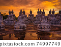 Many Statue buddha image at sunset in southen of Thailand 74997749