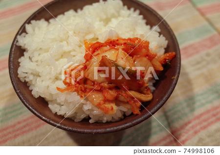 Spicy kimchi and white rice 74998106