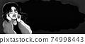쇼와 공포 만화 바람 절규하는 여성 · 피투성이 배너 흑백 74998443