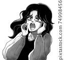 쇼와 공포 만화 바람 절규하는 여성 흑백 74998456