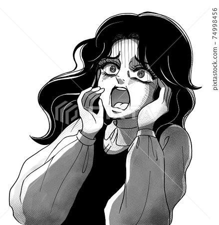 昭和恐怖喜劇風格,尖叫的女人,單色 74998456