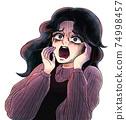 쇼와 공포 만화 바람 절규하는 여성 74998457
