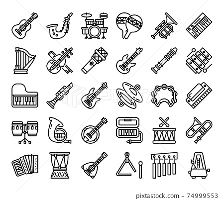 Music Instrument Outline Vector Icons 74999553