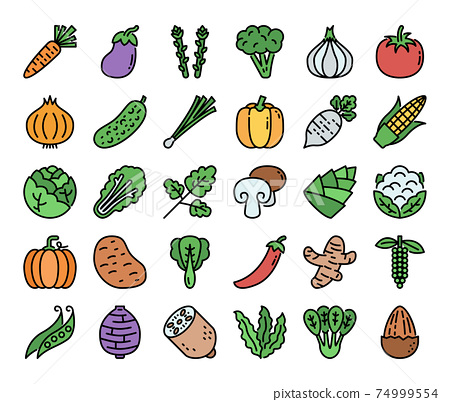 Vegetable Color Outline Vector Icons 74999554