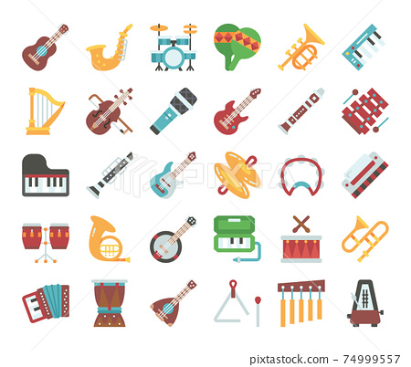 Music Instrument Flat Vector Icons 74999557