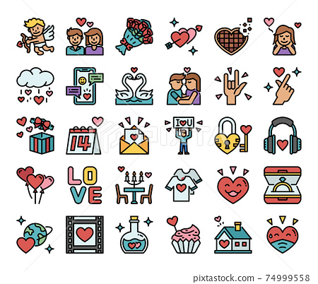 Happy Valentines Day Color Outline Vector Icons 74999558