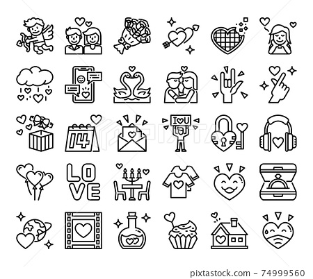 Happy Valentines Day Outline Vector Icons 74999560