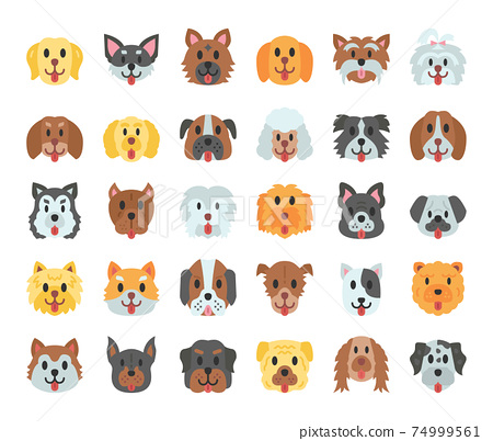Dog Breeds Flat Vector Icons 74999561