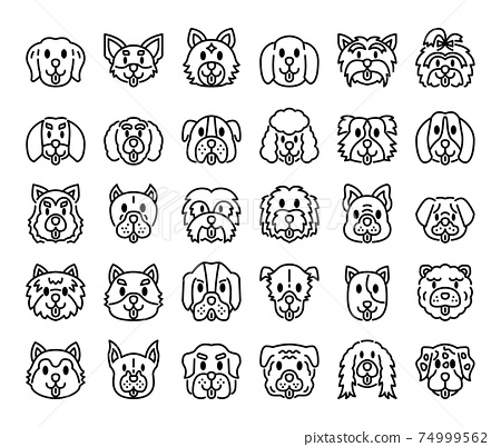 Dog Breeds Outline Vector Icons 74999562