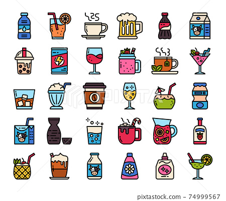 Berverage Color Outline Vector Icons 74999567