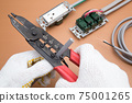 Electrical work A work scene where an electrician strips off the VVF cable insulation coating using a cable stripper 75001265