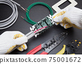 Electrical work Electrician Wiring work scene on the back side of the switch and outlet Replacement work Expansion work Electrician Occupation 75001672