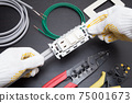 Electrical work Electrician Wiring work scene of switch and outlet Replacement work Expansion work Electrician Occupation 75001673