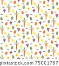 Seamless easter pattern with colored eggs, carrots and spring flowers 75001797