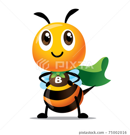 Cartoon cute bee with superhero costume ready to save the world. Cute bee with green cloak protect the natural environment. Public awareness. - vector 75002016