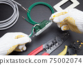 Image of outlet expansion work Ground wire work Grounding work Electrician image Electrical work image 75002074