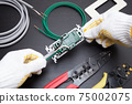 Image of outlet expansion work Ground wire work Grounding work Electrician image Electrical work image 75002075