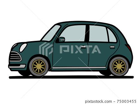 圓形輕型車深綠色的車圖 75003455