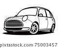 圓形輕型汽車著色書風格的汽車圖 75003457