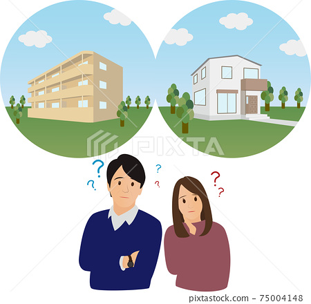 Condominium VS detached house, two people thinking by comparing their own home 75004148