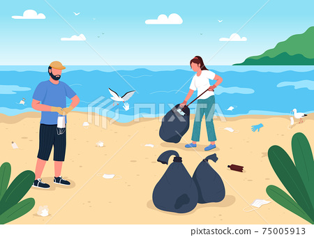 Cleaning beach from covid rubbish flat color vector illustration 75005913