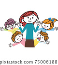 Hand-clean children, teachers, energetic elementary school students 75006188