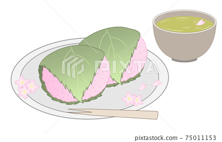 Illustration of sakura mochi and tea 75011153