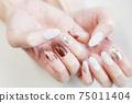 棕色大理石法式,珍珠珠寶釘 75011404