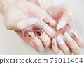 Brown Marble French, Pearl Bijou Nail 75011404