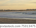Many surfers sit and lie on their surfboards between breaking approaching waves on a beach in Portugal on the Atlantic Ocean 75013475