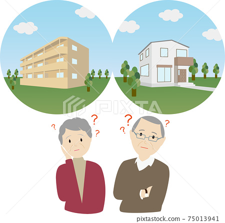 Condominium VS detached house, two people thinking by comparing their own home 75013941