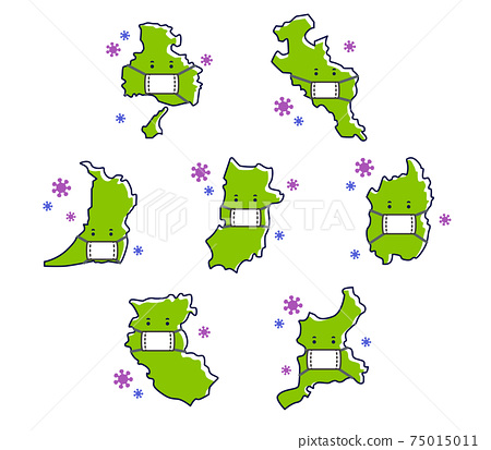 마스크를 붙인 긴키 지방의 도시 세트 감염 대책 75015011