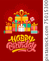 Happy Birthday Greeting Card Template With Brush Lettering And Gifts 75015300