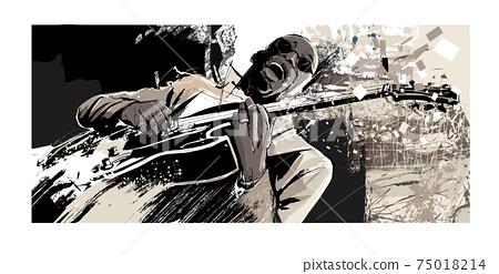 Afro-american jazz guitarist singing 75018214