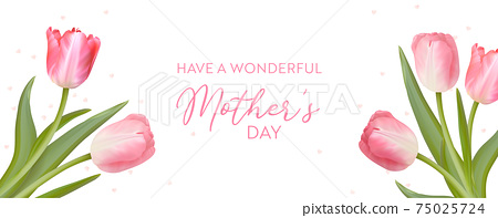 Mother Day Greeting card. Vector floral spring background. Realistic tulip flowers design for Mom 75025724