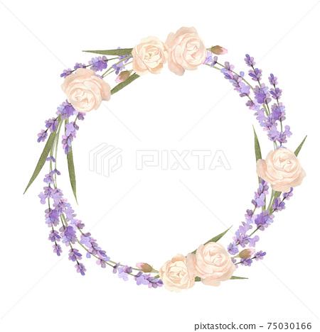 水彩的玫瑰和薰衣草花環 75030166