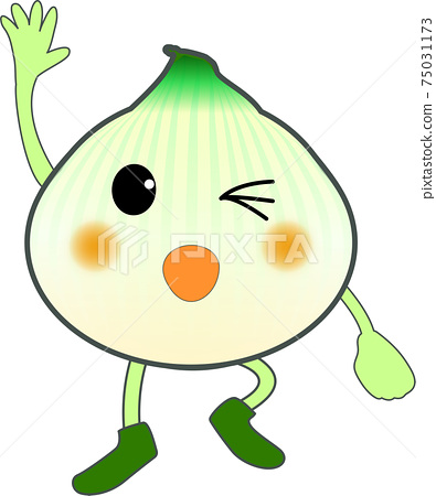 Cute new onion character raising hands 75031173
