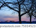 秋田縣的冬天的黃昏,雪景,河川,自然風光 75034523